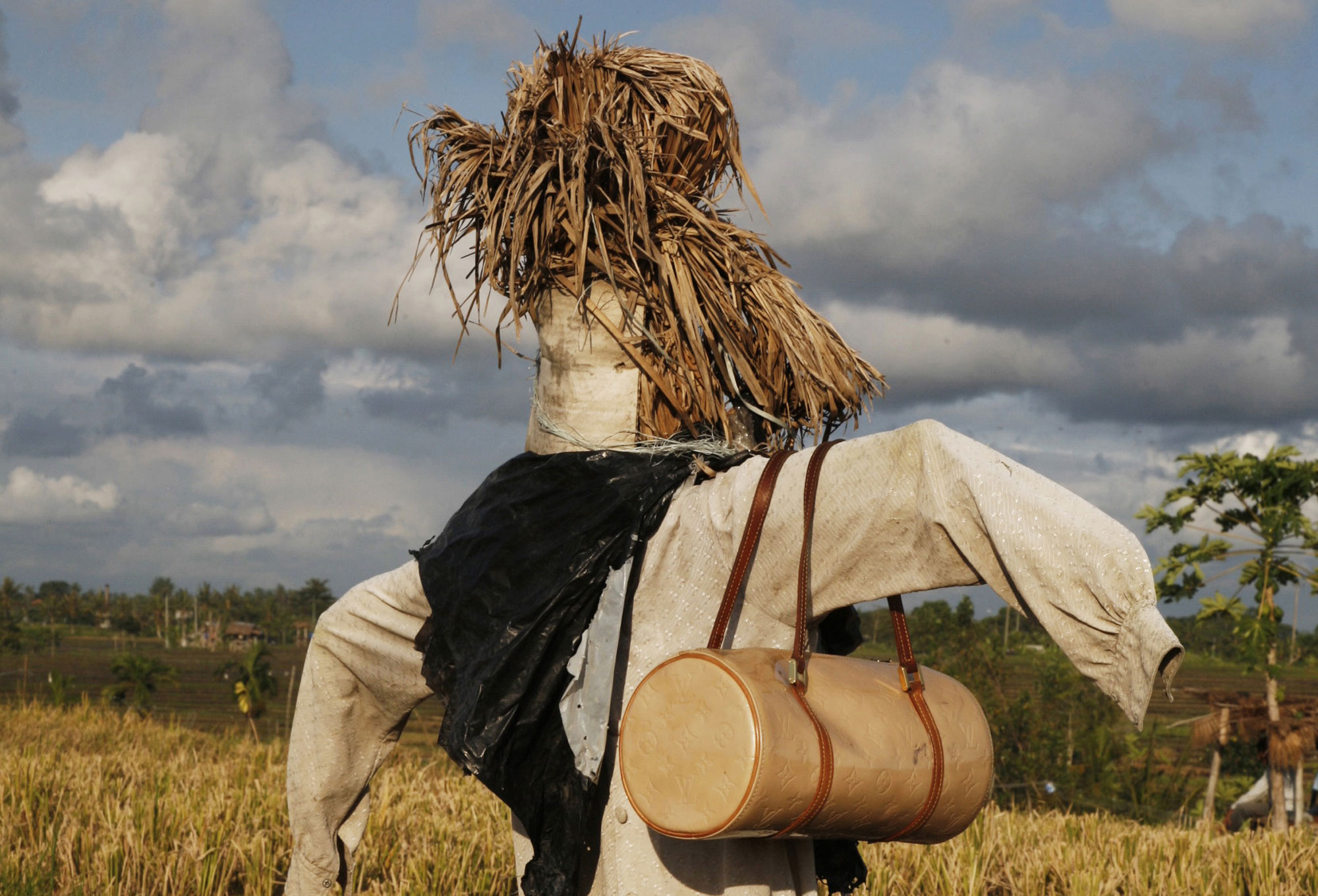 Scarecrow in Bali with Louis Vuitton bag